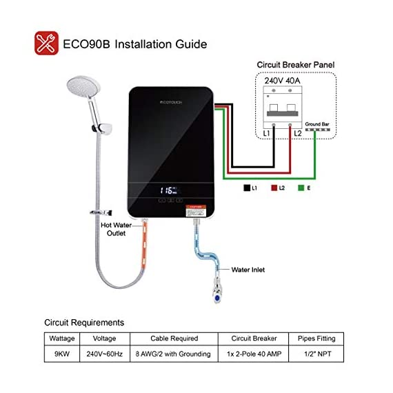 """Tankless water heater electric ecotouch 9kw 240v on demand water heater self-modulating instant hot water heater point… 10 【hot water: instant&endless】 with 9kw tankless water heater electric eco90, you can easily get sufficient hot water of even 116℉or higher. Instead of storing water and long time heating, eco90s electric tankless water heater provides you no waiting instant hot water, nor temperature fluctuations, bringing you instant hot and excellent experience of comfort anytime you want. 【intelligent self modulation】 as water flow reduces, power input decreases: eco90s electric hot water heater intelligently adjusts power input and water temp in real time, which gets you the ideal temp and comfortable hot water. Better still, smart self modulation makes the on demand hot water heater achieve 99. 8% optimal energy efficiency, thus, it will help cut the electricity bill for you. 【upgraded heating system】featuring micro-computer control and patent heating technology, eco90s electric tankless water heater perfectly achieves water heating, keeps outlet temp stable at your need, and promises no """"cold water sandwiching"""". Unique heating element avoids any corrosion inside pipes so as to extend service lifespan of the unit."""