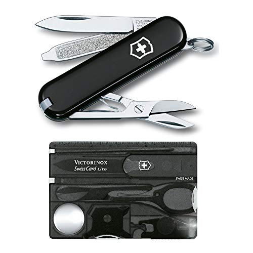 Victorinox Swiss Army SwissCard Lite Pocket Knife Set (Onyx) with Pocket Knife Bundle (2 Items)