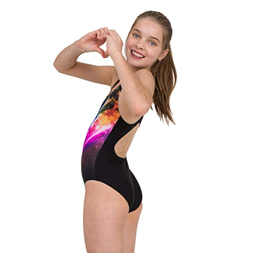Speedo Girls' Digital Placement Splashback Swimsuit, Black/Violet/Diva/Azelea Pink, 30 (11-12 YRS)