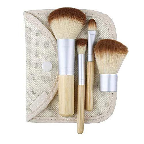 Portable 4 brosse en bambou maquillage set outil de maquillage sac de lin