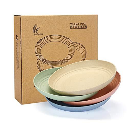 SSyang 4 Piezas Platos de Cena de Paja de Trigo,Platos Degradables,Reutilizables de 20 cm,Irrompibles y Livianos,No Tóxicos,para Adultos y Niños