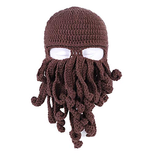 MSZQ Gorro de lana de punto hecho a mano para adultos, diseo de pulpo brbaro, vagabundo, gorro plegable para barba