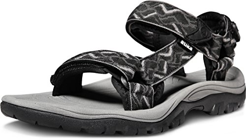 ATIKA Men's Outdoor Hiking Sandals, Open Toe Arch Support Strap Water Sandals, Lightweight Athletic Trail Sport Sandals, Maya(m111) - Black & Grey, 8