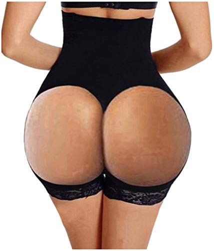 Hourglass Figure Butt Lifter Shaper Panties Tummy Control High Waisted Boyshort (Black, M/L(Prime))