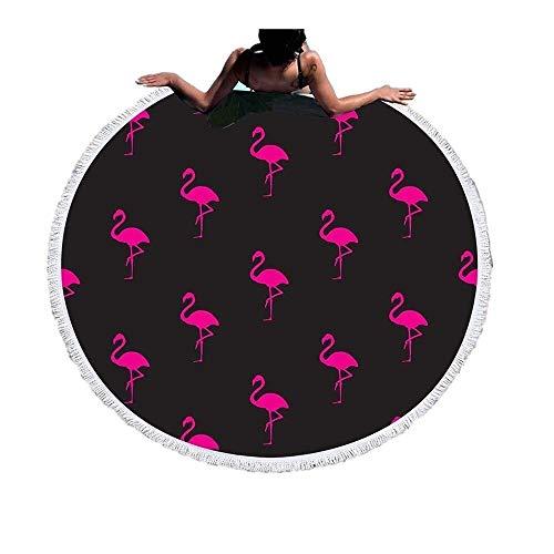 XFSE Toallas de Playa Manta De Toalla De Playa Redonda Flamingo Microfibra Borlas Grandes Y De Secado Rápido Impresas Súper Suave Absorbente Agua Ligera Protector Solar Deportes Viajes 150cm / 59in