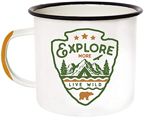 Enamel Camping Mug Travel Cup - Morning Coffee Mug, 16oz (455ml) Larger Than The Competition - Eco Friendly, Tin Cup Campfire Mug For Outdoors, Zero Plastic Wanderlust Travel Cup For The Happy Camper!
