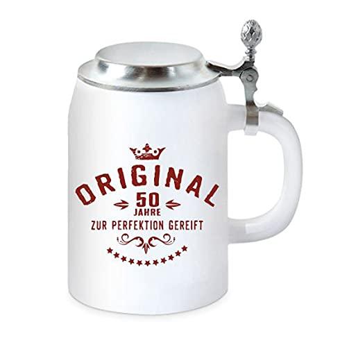 Boccale da birra con coperchio piatto – per il compleanno – Originale 50 anni per la perfezione
