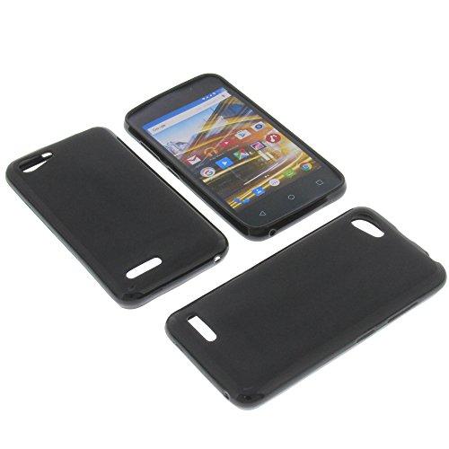 foto-kontor Tasche für Archos 40 Neon Gummi TPU Schutz Handytasche schwarz