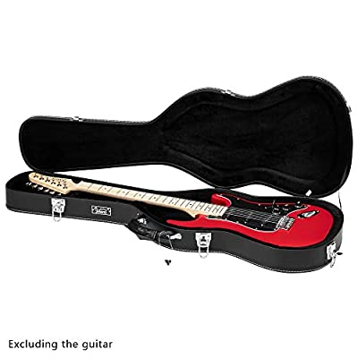 Glarry Deluxe Electric Guitar Hard Shell Case Portable Guitar Case Microgroove Flat With Extra Neck & Bridge Padding