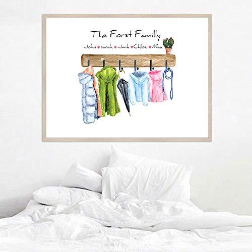 N / A Benutzerdefinierte Familie drucken Geschenk personalisierte Poster Mäntel Wandkunst Leinwand Malerei warme Mantel Wandbilder für Wohnzimmer Dekor 30x45CM N Rahmen