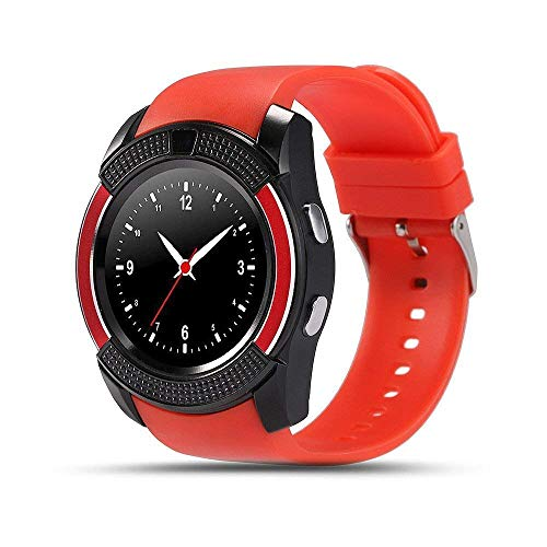 generic Smart Watch with SIM Card Support Compatible with All Mobile Phones for Boys and Girls -red