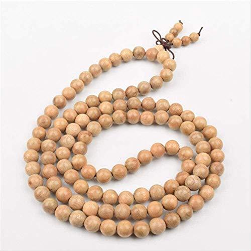 TYWZH Collar 108 * 6Mm Pulsera de Cuentas de Buda Tibetano Natural Cuentas de oración Budista Rosario Brazalete de Madera Joyería
