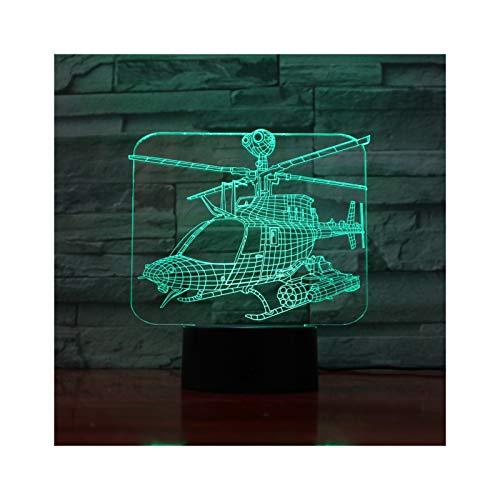 TIDRT Helicóptero Avión 3D Acrílico Led Lámpara De Mesa USB Niño Luz para Dormir 3aa Batería Energía Luz Nocturna Chica Dormitorio Decoración Fiesta De Cumpleaños Regalo