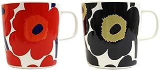 マリメッコ UNIKKO ウニッコ マグカップ 2個セット 400ml 花柄 marimekko Unikko 取っ手付き コップ ペア 北欧 食器 おしゃれ レディース 067719 (レッド×ブラック)