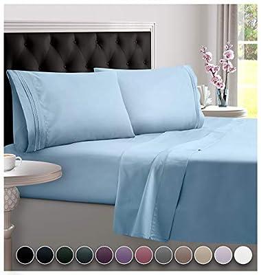 DreamCare Deep Pocket Sheets Microfiber Sheets Bed Sheets Set 4 Piece Bedding Sets Queen Size, Light Blue