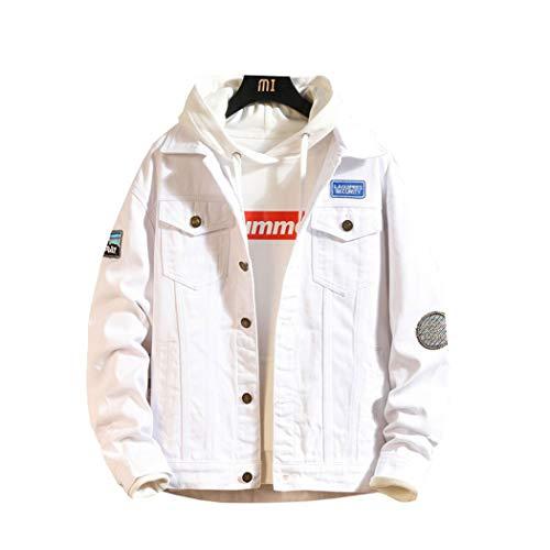MISSMAOM_Fashion2019 Herren Strick-Jacke-Hemd| Vintage Jeans-Hemd für Männer Slim-Fit Langarm | Freizeit Jacke-Hemd Verwaschen Casual,Weiß,3XL