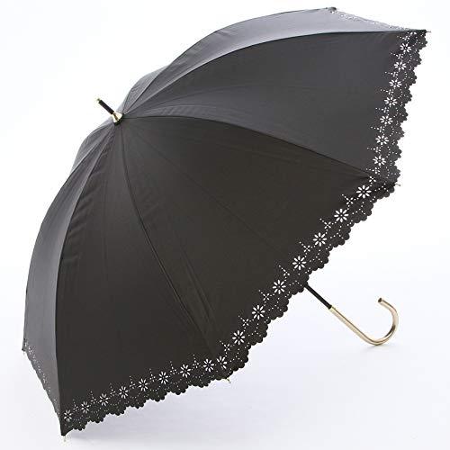 a.s.s.a 日傘 レディース UVカット 遮光 長傘 超軽量 遮光遮熱 50cm 花柄レース (FL130/ブラック)