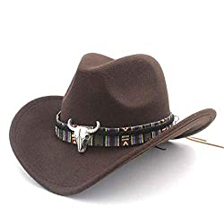 10dare Cowboy Hat with Bull Badge | Stetsons, Fedoras, Sombreros Sun Hats | Pure Felt Material | Outdoor Headgear [HSN 6501
