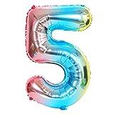 DIWULI, Globos de número XXL, número 5, Globos iridiscentes de Color Azul Arco Iris, Globos de número, Globos de Papel de Aluminio número no años, 5º cumpleaños, Fiesta, decoración
