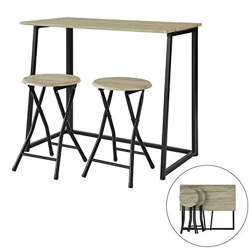 SoBuy OGT18-N,ES Set Mesa Alta de Bar y 2 Taburetes,Mueble P