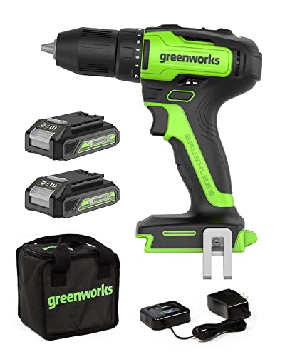 Greenworks 24V Cordless Drill Set - 310 in./lbs Brushless Power Drill Driver with Variable Speed Control, 18+1 Position Clutch, 2x2Ah batteries & 2A adaptor (1h) charger, Bits and Tool Bag Included