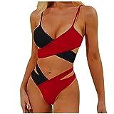 YANFANG Bikini Set Sujetador Push-Up Acolchado para Mujer,Bikini Mujer con Relleno Y Push Up Sexy Cintura Alta Estampado Halter Conjunto Decorado Lazo Triangulo Bikinis,Rojo,L