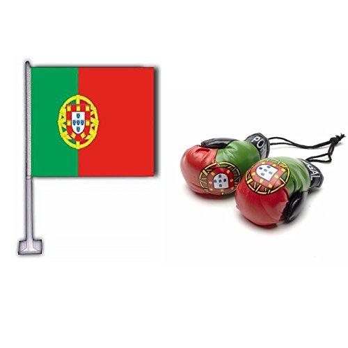 Portugal Car Flag & Mini Boxhandschuhe Combo Pack