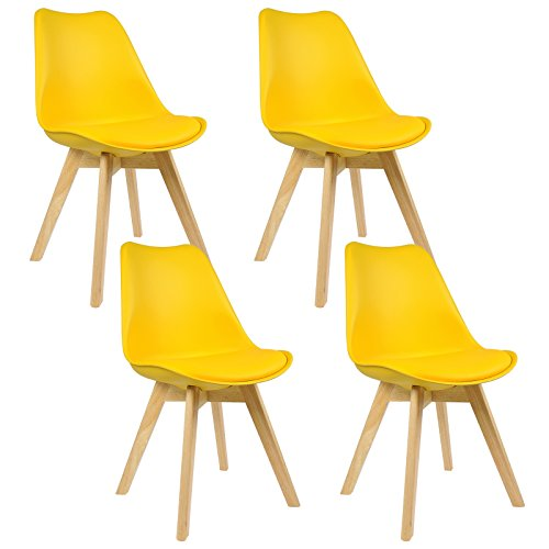 WOLTU® 4er Set Esszimmerstühle Küchenstuhl Design Stuhl Esszimmerstuhl Kunstleder Holz Gelb BH29gb-4