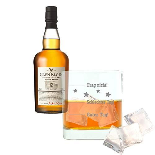 Whiskey 2er Set, Glen Elgin Speyside 12 Years / Jahre, Single Pot Malt, Whisky, Scotch, Alkohol, Alokoholgetränk, Flasche, 43%, 700 ml, 550298, Geschenk zum Vatertag, mit graviertem Glas