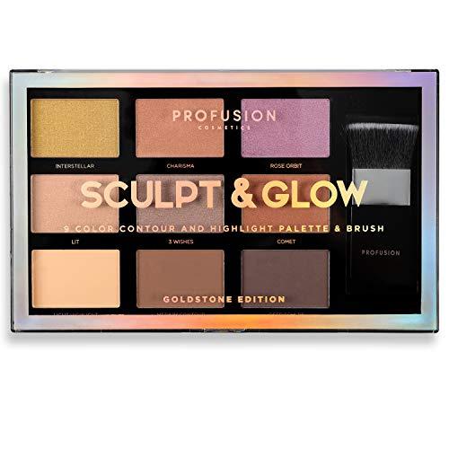 Profusion Cosmetics - Palette de contour et de surbrillance 9 couleurs, Goldstone