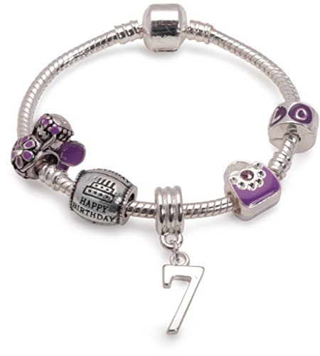 Bling Rocks Liberty Charms Childrens Purple Happy 7th Birthday Silver Plated Charm Bead Bracelet. with Gift Box & Velvet Pouch. Girls Kids Gift (Other