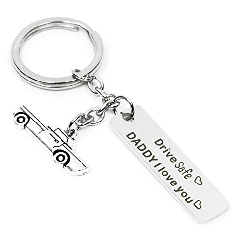 Drive Safe Keychain I Need You Here With Me Gifts for Husband Dad Boyfriend Gifts Valentines Day Father's day BirthdayGift (Silver-drive-Daddy)
