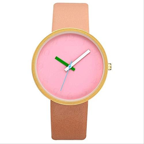 WFQ Armbanduhr, graues Kontrast-Leder, Quarzuhr für Damen, Uhren für Liebhaber, Armbanduhren für Frauen, Unisex, Casual, Armbanduhr, weibliche Armbanduhr Gold 1