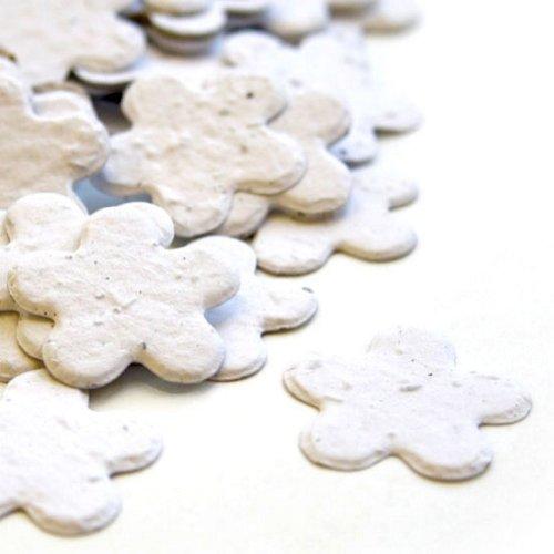 White 5-Petal Plantable Seed Confetti 4-Pack (four 350 piece bags = 1400 pcs)