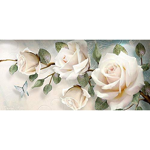 Demiawaking Rose Bianche 5D DIY Full Drill Diamond Painting Mestieri Pittura Diamante 5d Fai da Te Pittura Mosaico Kit Decorazione Domestica Regalo 90x45cm