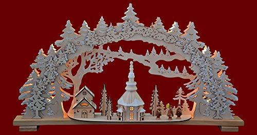 yanka-style XL Schwibbogen Lichterbogen Leuchter Seiffener Winter 70 cm breit 10flammig innenbeleuchtet Natur Weihnachten Advent Geschenk Dekoration (10798)