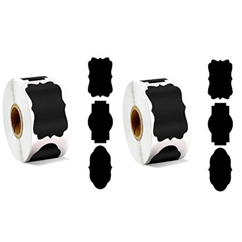 CAJHFIZHANGU 2 rollos/600 pegatinas reutilizables e impermeables para pizarra, etiquetas de pizarra, etiquetas a granel para envases Mason Jar Spice