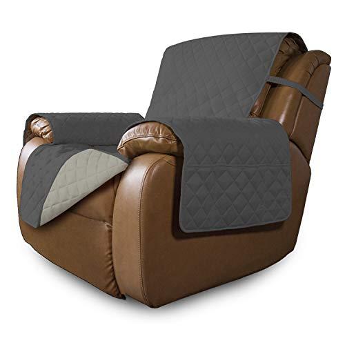 Easy-Going Oversized Recliner Reversible Sofa Cover Furniture Protector Couch Cover Water Resistant Elastic Straps PetsKidsDogCat(Oversized Recliner,Dark Gray/Beige)