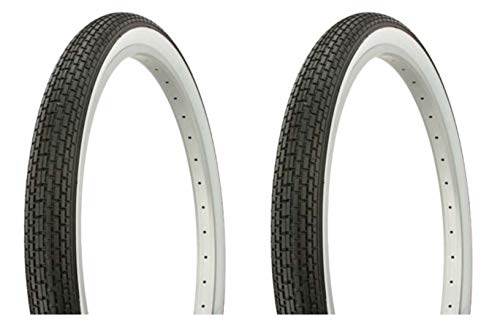 Lowrider Tire Set. 2 Tires. Two Tires Duro 26' x 2.125' Black/White Side Wall HF-120A. Bicycle Tires, Bike Tires, Beach Cruiser Bike Tires, Cruiser Bike Tires