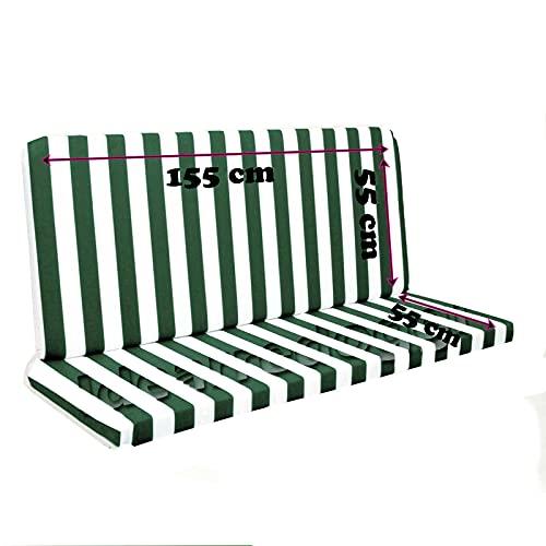 Cuscino per Dondolo Lastra 3 Posti 150 Cm Bianco/Verde