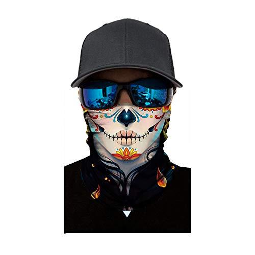 Writtian Multifunktionstuch Herren Damen Atmungsaktiv Schnelltrocknend Wind Motorrad Gesicht Mundschutz Lustig Skull Chopper Mund-Tuch Halsschlauch Halstuch mit Motiv