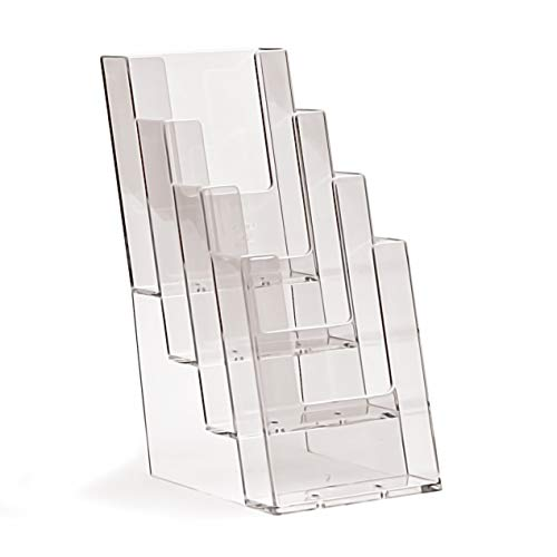 4er-Pack taymar Prospektständer / Flyerhalter, DIN lang (105×210mm) mit 4 Etagen, Transparent