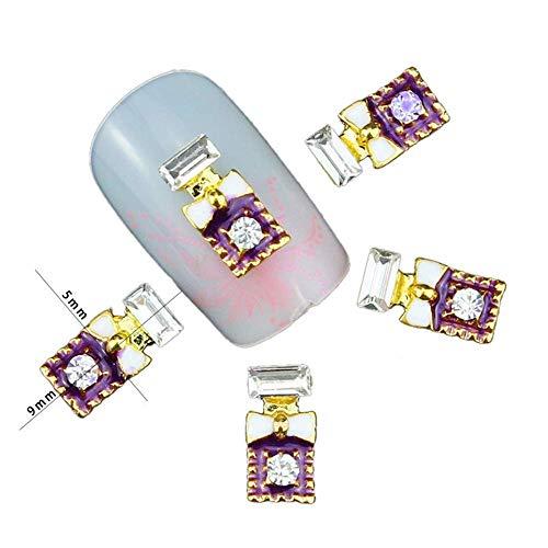 HYLH 10pcs Ongles Paillettes Strass Arc Bouteille de Parfum Ongles en Alliage d'or 3D Bricolage Nail Art décorations Charms Outil de manucure