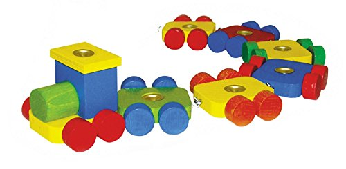 Hess Holzspielzeug 14380 - Geburtstagszug mit 6 Anhängern aus Holz, ca. 36 cm