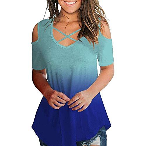 VEMOW Los más vendidos Camiseta Tops Las Mujeres cruzan el Hombro frío V Cuello Manga Corta Blusa(Azul,XL)