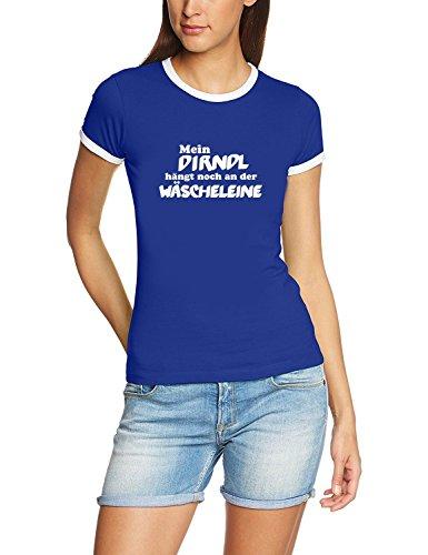 Mein Dirndl hängt noch an der Wäscheleine ! Damen Ringer Oktoberfest Wiesn T-Shirt blau_RIGI Ringer Gr.XL