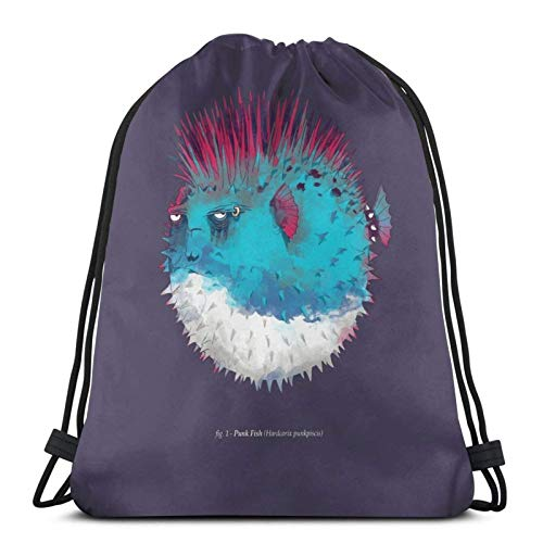 XCNGG Sporttasche Kordeltasche Reisetasche Sporttasche Schultasche Rucksack Drawstring Bag Punk Fish Floor Pillow Training Gymsack