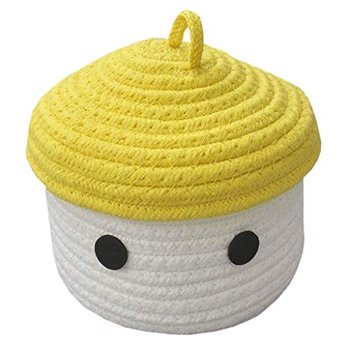 WAJklj Laundry Basket with Lid, Cotton Rope Basket Woven Storage Organizer for Nursery Kid's Room Baby Accessories (Color : B)