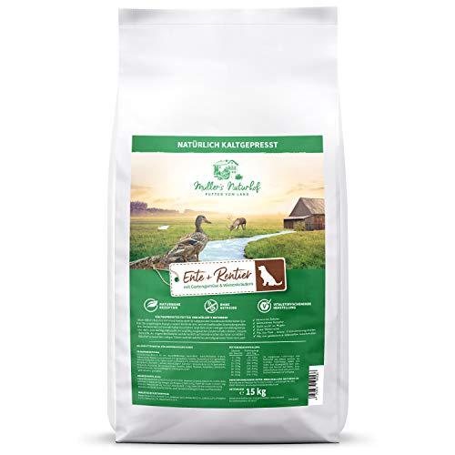 Müllers Naturhof | Ente & Rentier | 15 kg | Gartengemüse & Wiesenkräuter | Natürlich kaltgepresst | getreidefreie Rezeptur | Trockenfutter für alle Hunderassen | Traditionell hergestellt
