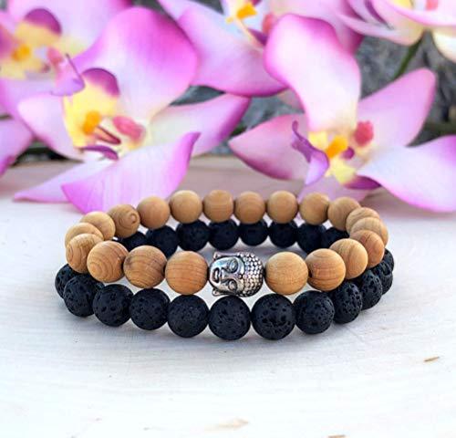Buddha Bracelet Set, Wooden Buddha Bracelet, Lava Essential Oil Bracelet, Choose Your Size